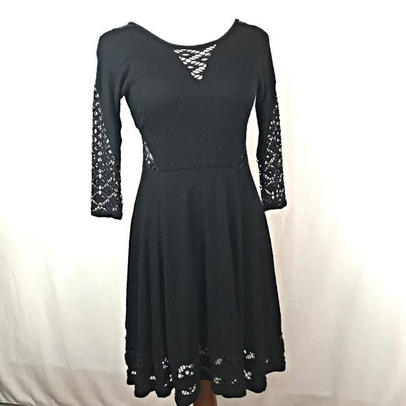 Free People Cutout Lace Dress Black 4